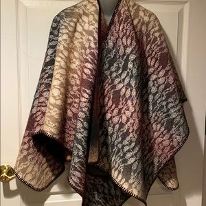 Anthropologie Wintertide Reversible Poncho OS